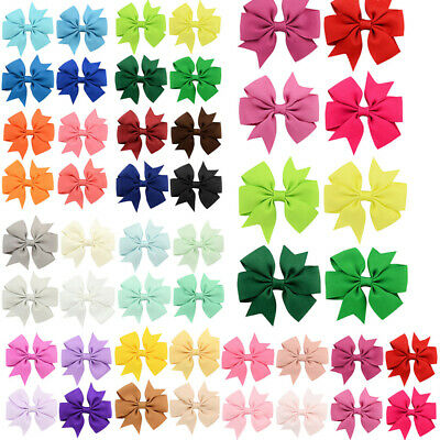 Colorful Girls Butterfly Barrettes Ribbon Bow Hair Clip Boutique Hairpin Random