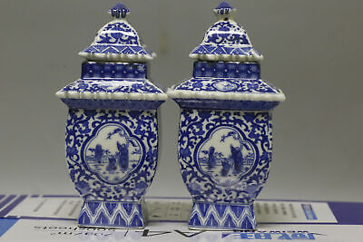 1 pair Antique Chinese ancient pagoda of blue and white porcelain vase 8