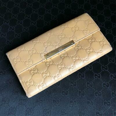 d65069624e7e Gucci Wallet GUCCISSIMA Bifold Ivory Leather Authentic carved seal Gold  Clasp