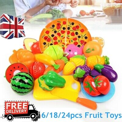 6/18/24pcs Kitchen Fruit Vegetable Pretend Play Toy Cutting Toy Simulation Food