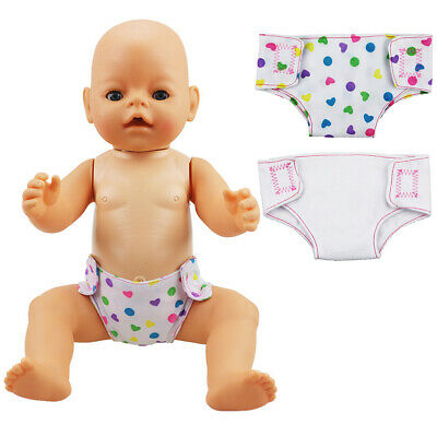 """2pcs/set  Doll Diaper 18"""" Doll Baby Underpants Cute Clothes Doll Accessory Toy"""