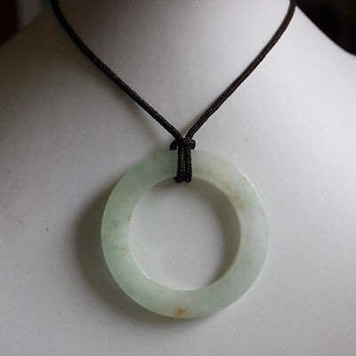 Certified Natural Icy Translucent Chinese Jadeite JADE Circle Donut Pendant #942
