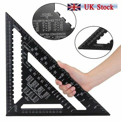 12 inch Roofing Speed Square Aluminium Rafter Angle Measuring Triangle Guide UK