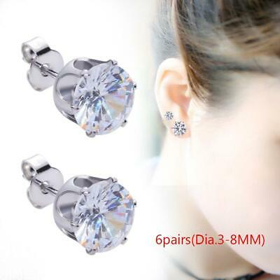6 pair 3-8mm Silver Round Cubic Zirconia Clear CZ Stud Earrings Bridal Party DI