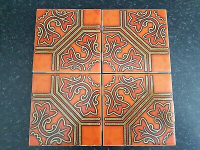 H&R JOHNSON CRISTAL Vintage Retro Ceramic Wall Tiles - set of 4
