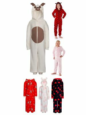 Luxury Girls Novelty Hooded All In One Fleece Pyjamas Onezee Kids Pjs