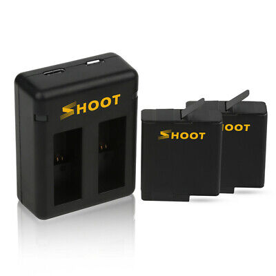 SHOOT Battery Charger With 2pcs 1220mAh Battery For GoPro Hero 5 6 7 Black Cam