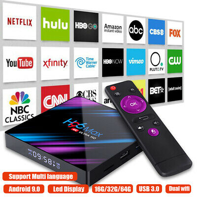 H96 MAX Smart TV BOX Android 9.0 OS 4G RAM 32/64GB Quad Core 1080p 4K LED screen