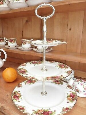 royal albert country roses 3 tier cake stand