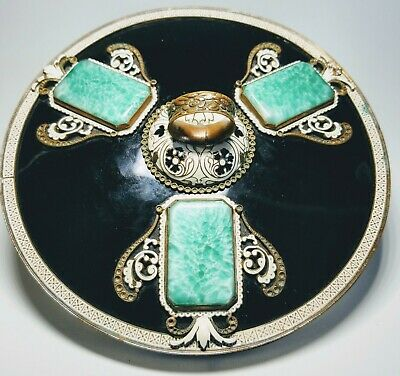 1920s French Art Deco Black Enamel and Green Glass Circular Hand Mirror