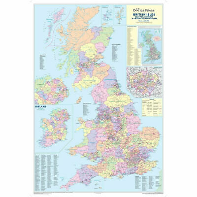 UK COUNTIES MAP OF GB IRELAND WALES - LARGE BUSINESS PAPER WALL POSTER 120X83cm