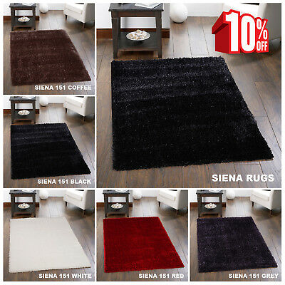Sienna Large Shaggy Floor Area Rug Plain Soft Thick Carpet Anti Skid Glitter Mat
