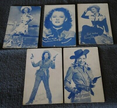 5 1950s BLUE COWGIRL ARCADE CARDS RUSSELL CANOVA EVANS BOOTH EDWARDS #14