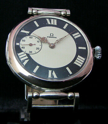 OMEGA ANTIQUE 1914 Large Art Deco Watch Silver Case w Medals