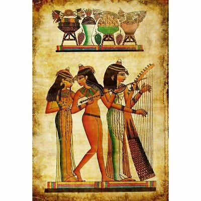 """Old Egyptian Papyrus Canvas Painting """"Beautiful discourse is rarer than emerald"""""""