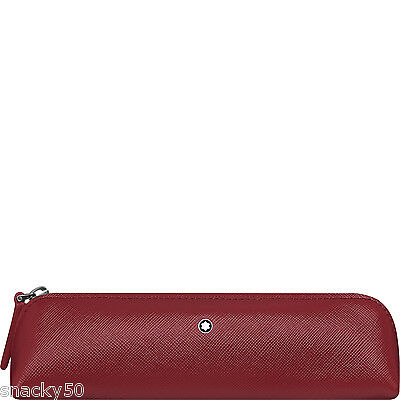 MONTBLANC Sartorial 2 Pen Pouch Zip Top - RED saffiano LEATHER