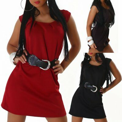 Sexy Miss Donna Mini Vestito Cintura Trendy Dress 34/36/38 Marrone Nero Rosso