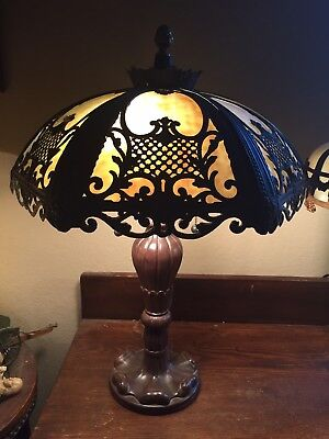 Nice! Victorian Art Nouveau Vintage Antique Convex Caramel Slag Glass Table Lamp