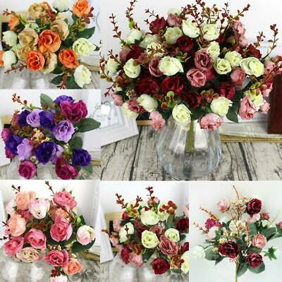 21 Heads Artificial Fake Silk Rose Dried Flower Bouquet For Home Wedding Decors