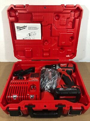 """Milwaukee M18 1/2"""" Drill/Driver Kit 2606-20 2 Batteries/Charger and Case"""