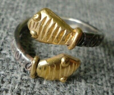 Stunning Unique Ancient Roman Gold Silver ring Snake Senatorial Fine artifact
