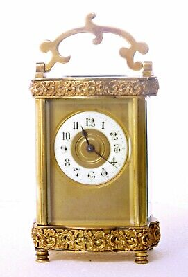 Antique Couaillet French Serpentine Carriage Clock, Cast Brass Filigree Friezes