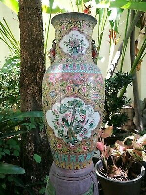 LARGE 20'' Chinese Famille Rose Vase Pheasant and Birds