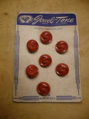 NOS Vintage 7 Jewel-Tone Plastic Red Shank Buttons on Card Style # 2016 Size 24
