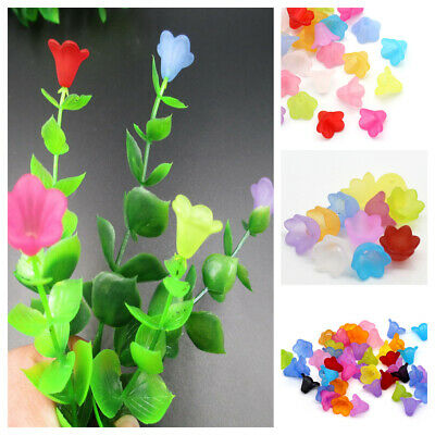 100pcs Mixed Flower Frosted Acrylic Spacers Beads Caps For Jewelry Making 14mm