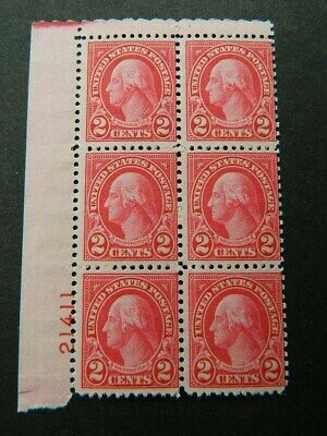 1920 Us Sc# 634 Plate Block Of 6  Mint Og Hinge Trace In Selvage