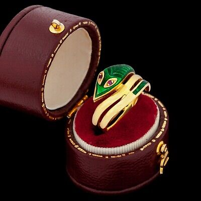Antique Vintage Deco Retro 18k Gold Ruby Polychrome Enamel Serpent Ring Sz 4.75