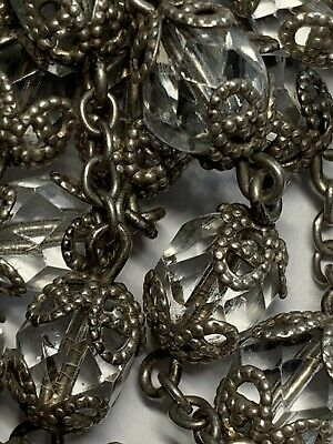 """† Gigantic Wedding Vintage Sterling Double Capped Rosary 39 1/2"""" 70 Grams †"""