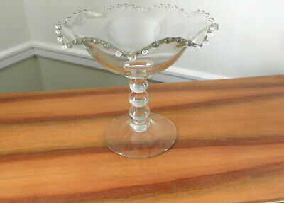 "Imperial Glass Candlewick Crimped Compote 400    8"",   3 Bead Stem Compote"