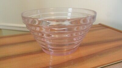 Large Art Deco pale pink glass tier, stepped centerpiece salad bowl, vintage
