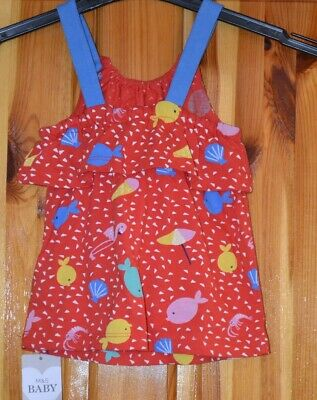 M&S  Baby  Girls Cotton Dress Red Mix  3-6 Months Old   (B29)