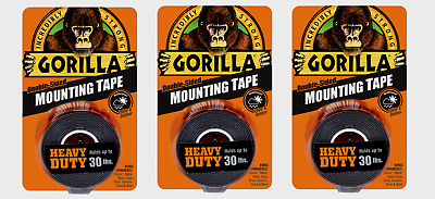 """3 ~ Gorilla Heavy Duty MOUNTING TAPE Double-Sided Black Holds 30 lbs 1"""" x 60"""" L"""