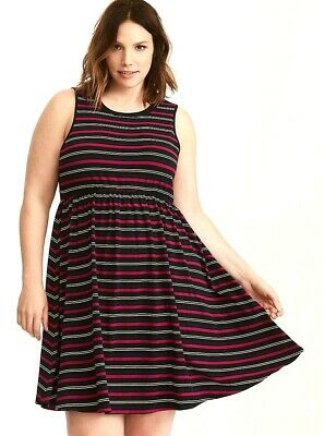 c4f900e1ad4c Torrid Size 4 4X Dress Fit and Flare Striped Skater Jersey Knit Open Back  Plus