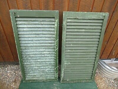 "GREAT OLD  2 SHUTTERS Wooden 39"" long x 20"" Wide Architectural Salvage #9"
