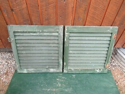 "VINTAGE OLD  2 SHUTTERS Wooden 21"" long x 20"" Wide Architectural Salvage #11"