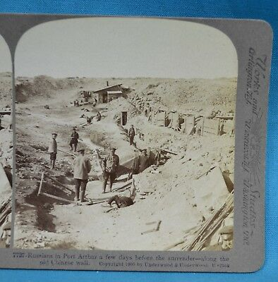 Stereoview 1905 Russian Japanese War Old Chinese Wall Port Arthur China