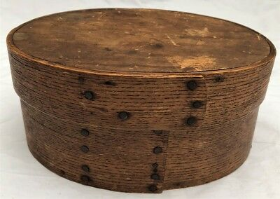 Antique Early 19Th C New England Oval Shaker Wooden Pantry Box Original Surface