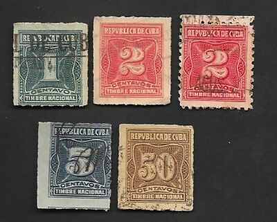 M-18 Caribbean, lot of 5 revenue stamps, 1930s