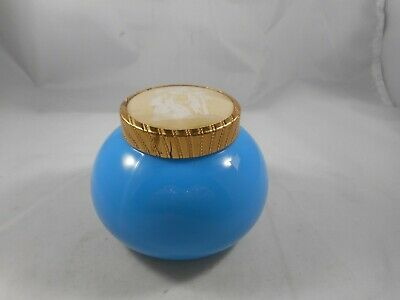 Vintage Blue Powder Box With Victorian Couple On Lid