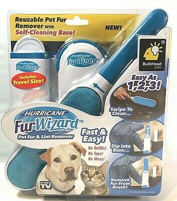 FUR WIZARD Hurricane Pet Fur And Lint Remover Dog Cat Hair No Mess SEEN ON TV