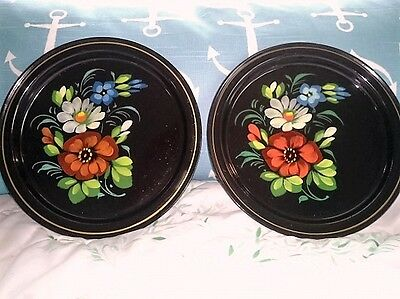 Pair Vintage Hand Painted Black Metal Tole Trays Plates -Red Blue White Flowers