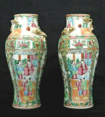 Pair Of Antique Canton Famille Rose Porcelain Mirror Vases Applied Dragons 19Thc