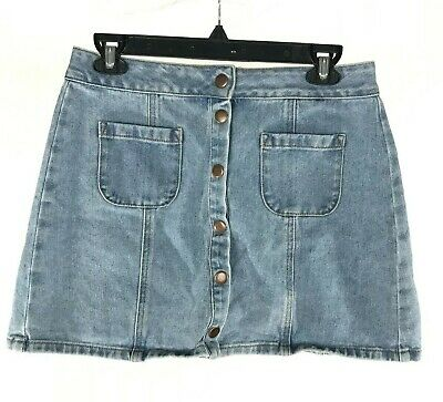 cb1bece859 Brandy Melville Bruce Denim Skirt 29 Blue Jean Light Wash Button Front Mini