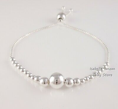 STRING OF BEADS Authentic PANDORA Silver Beaded BRACELET 597749 NEW w POUCH!