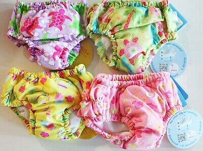 Lot of 4 iPlay Baby Girl Reusable Swim Diapers Size 6 Months 6M 6 M 10-18 lbs