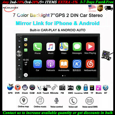 7''2 DIN Car Radio for Apple Carplay GPS Android BT iOS Siri Navi DVR/FM MP5+CAM